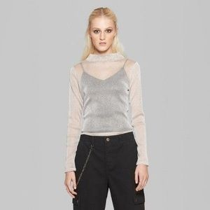 target wild fable sheer silver neck top
